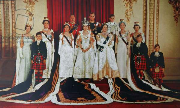 The Royal Family photographed at Buckingham Palace after the Coronation of Queen Elizabeth
