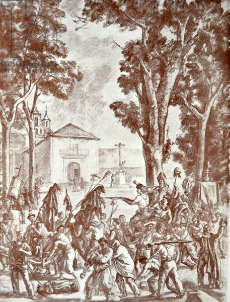 Spanish Civil War: In most villages, the looting of the churches, is followed by carnivalesque sacrilegious celebrations' anti-republican propaganda drawing by J. Valverde