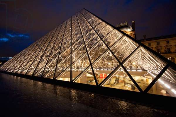 Louvre Pyramid by the Architect I.M. Pei at Night, Paris, France (photo)