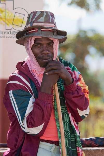 Man With Hats in Ambalavao, Fianarantsoa Province, Madagascar (photo)