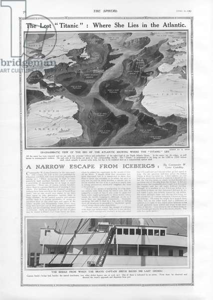 The Lost Titanic - Where She Lies in the Atlantic, from 'The Sphere', 27 April 1912 (litho)