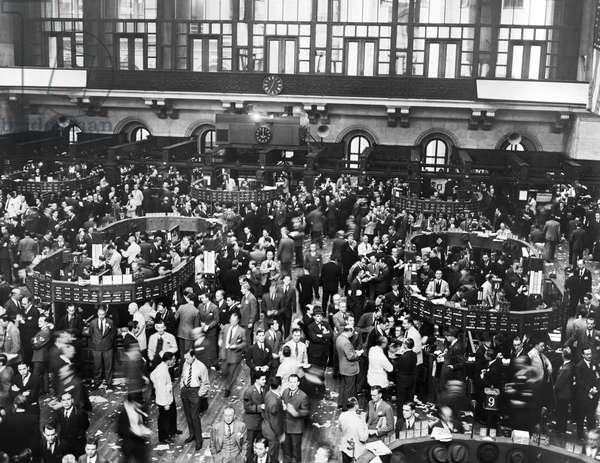 New York Stock Exchange Floor, New York, New York, December 8, 1941 (b/w photo)
