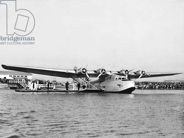 China Clipper Seaplane, Alameda, California, November 11, 1935 (b/w photo)
