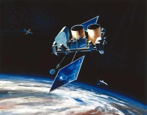 Satellites, Scientific, USA Gamma Ray Observatory (GRO) in orbit, 1991