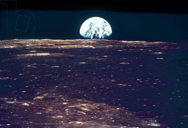 Manned Space Flight, USA, Apollo 11 Earthrise over the Moon, 1969