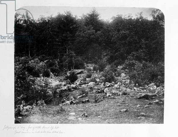Slaughter pen, foot of Little Round Top Hill, Gettysburg, Pennsylvania, July 1863