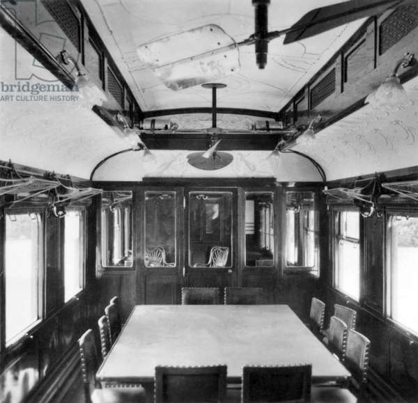 France : Interior of the railcar in which the Armistice was signed on the 11th of Nov