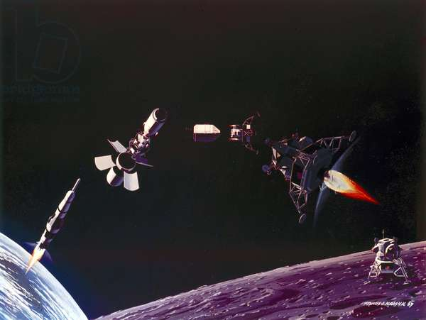 Manned Space Flight, USA, Apollo, General ArtistÕs depiction of the main Apollo Moon landing manoeuvres, 1969