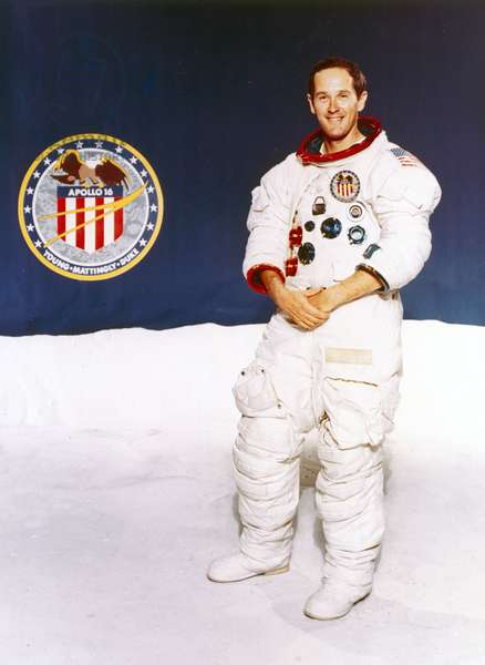 Manned Space Flight, USA, Apollo 16 Astronaut Charles Duke with Apollo 16 mission badge, 1971
