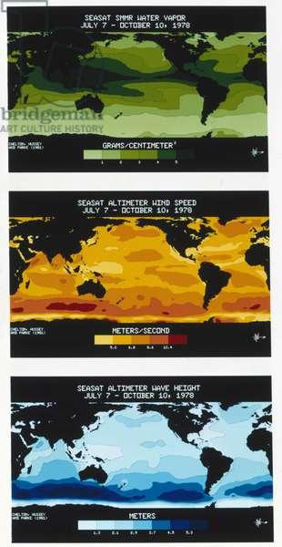 Satellites, Earth Observation, USA Three Seasat maps, 1978