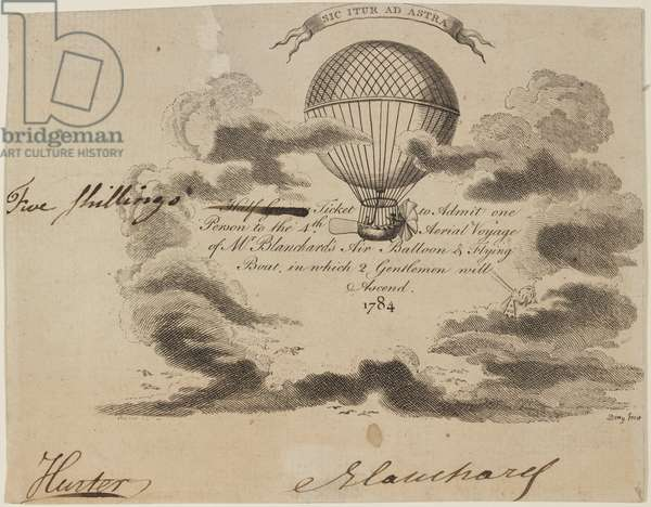 Ticket to Blanchard's balloon ascent, 16 October 1784