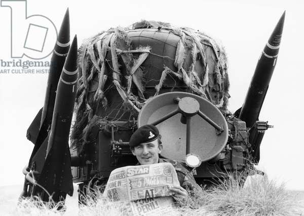 British soldier with special Falklands edition of the Star, December 1982