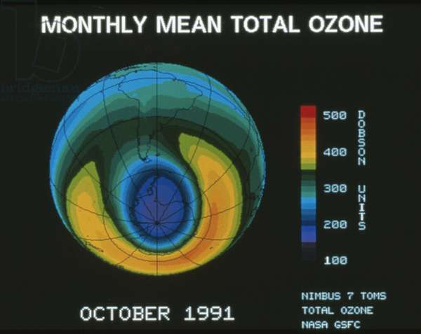 Monthly mean total ozone, October 1991