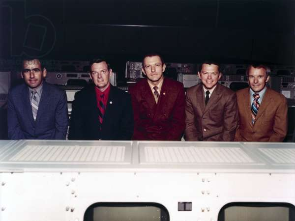 Manned Space Flight, USA, Apollo, General The five flight directors of the NASA Apollo programme, 1971