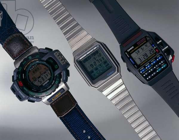 Watches, Wrist, Digital Three Casio digital watches, 1990s