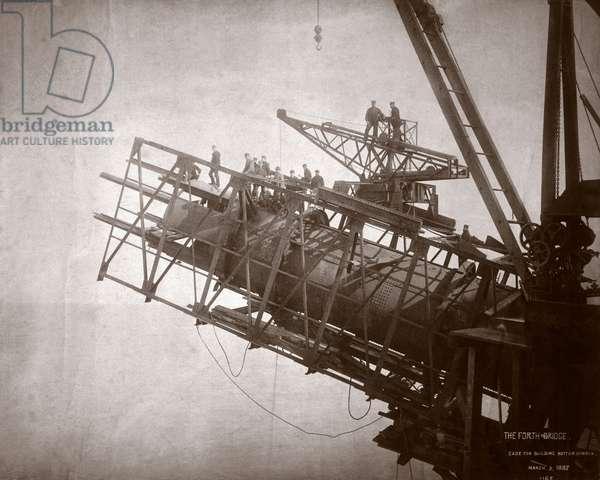 Construction works, Forth Railway Bridge, Scotland, 9 March 1887 (b/w photo)