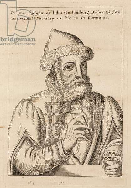Johann Gutenberg, German printer and goldsmith, c 1660