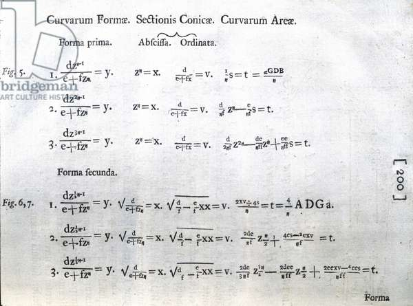 Newton's 'Opticks' Formulae on curved forms, 1704