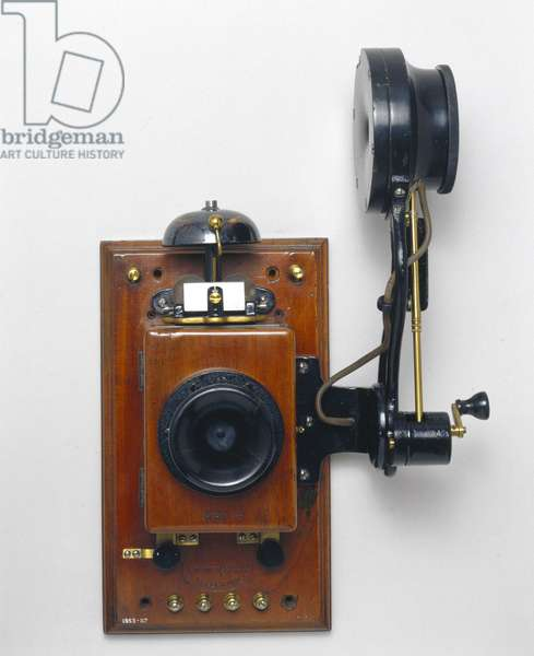 Telephony, Telephones Wall telephone with Edison chalk receiver, early 20th century