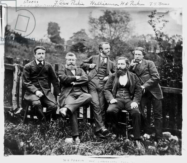 Sir William Henry Perkin, English chemist, with colleagues, c 1870