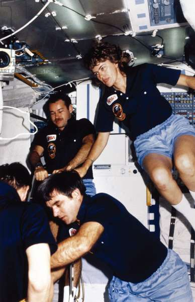 Manned Space Flight, USA, Shuttle Astronauts aboard the Space Shuttle Discovery, 1985