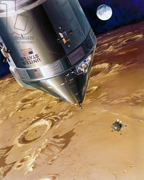 Manned Space Flight, USA, Apollo, General ArtistÕs impression of Apollo Lunar Module descending to the Moon, 1968