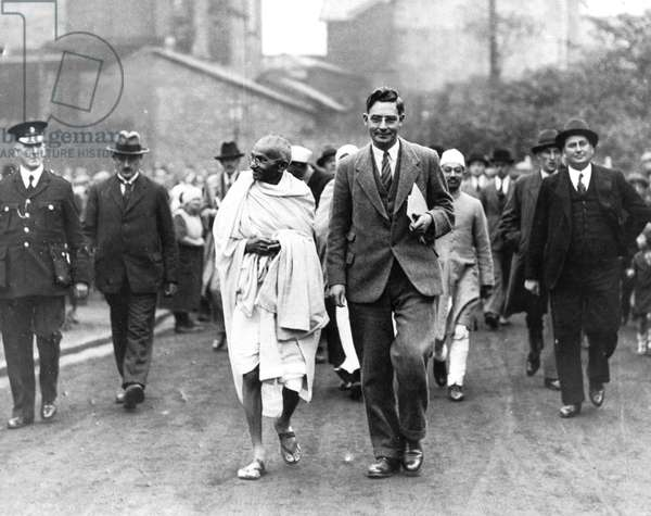 Mahatma Gandhi on an official tour, 1931