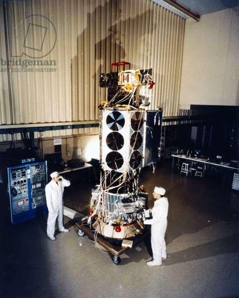 Satellites, Weather, USA TIROS N meteorological satellite undergoing ground tests, 1978