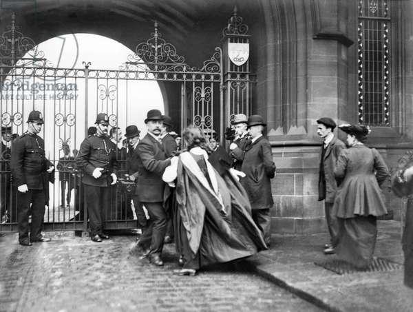 United Kingdom : Police Arresting A Suffragette, Manchester University - c1905