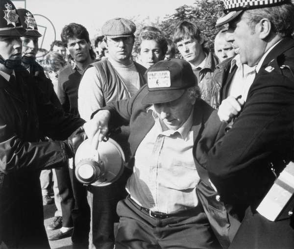 Arthur Scargill being arrested for obstruction during the miners' strike, Orgreave, England, 30 May 1984 (b/w photo)
