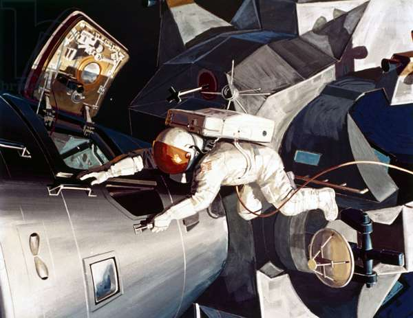 Manned Space Flight, USA, Apollo, General ArtistÕs impression of an astronaut on EVA (Extra-Vehicular Activity), 1968