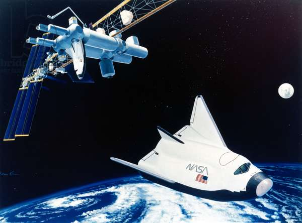 Future Concepts HL-20 space taxi and Space Station Freedom, 1991