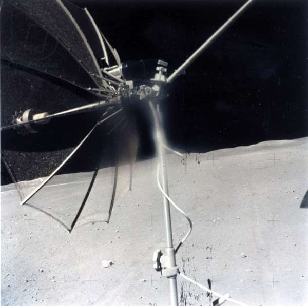 Manned Space Flight, USA, Apollo, General High gain communications antenna on a Lunar Rover on the Moon, 1971-1972