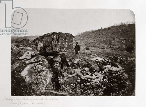 Battle of Gettysburg, third day, rocks opposite Little Round top Hill, July 1863