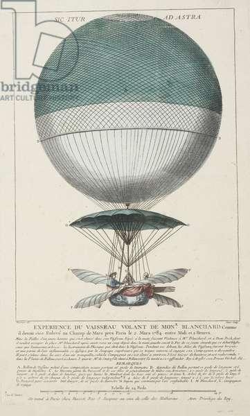 Blanchard's 'Vaisseau Volant' balloon, 1784