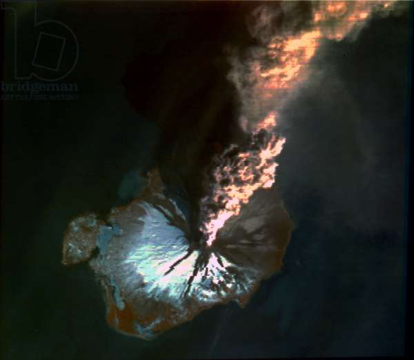 Satellites, Earth Observation, USA Landsat image of volcanic eruption, Alaska, 1986