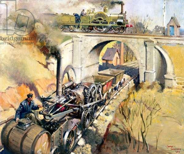 "Locomotives ""Pen-y-Darren"" and ""Cornwall"", 1954 (oil on canvas)"