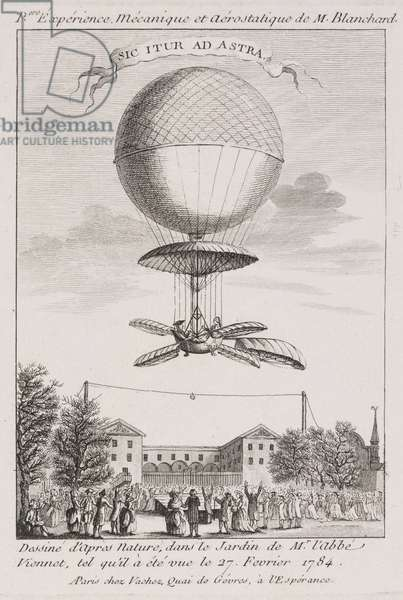 Blanchard's first balloon ascent, 27 February 1784