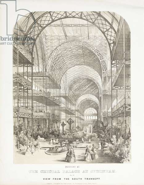 Crystal Palace, Post-Great Exhibition View from the South Transept, Crystal Palace, Sydenham, 1854