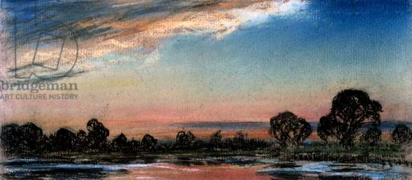 Afterglow an hour after official sunset time, Chelsea, London, 14 July 1886