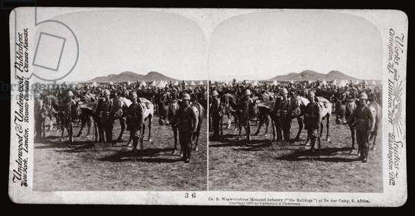 Guerre des Boers (Afrique du Sud, 1899-1902): 'Co B Warwickshires Mounted Infantry at De Aar Camp, South Africa', 1900