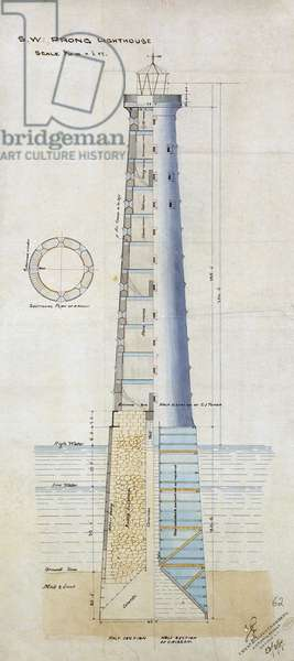 Design for the Prong lighthouse, Bombay, India, February 1867