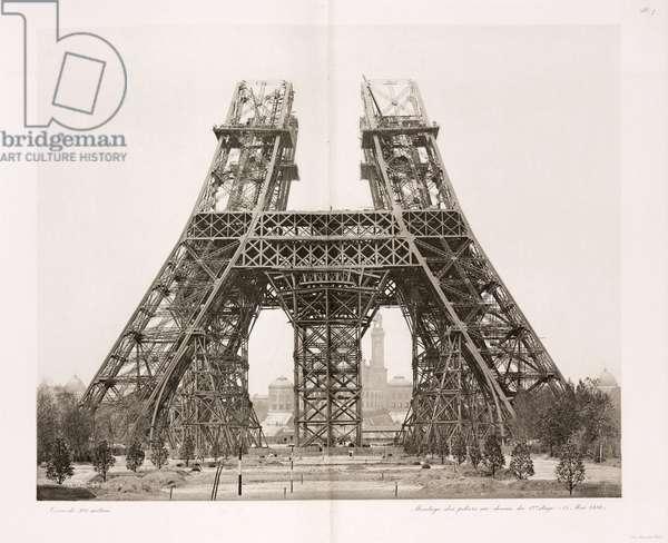Construction de la Tour Eiffel - Building Construction & Repair Erection of the pillars below the first level, Eiffel Tower, Paris, 15 May 1888