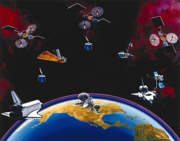 Satellites, Communication, USA TDRSS constellation and ground station, 1980s