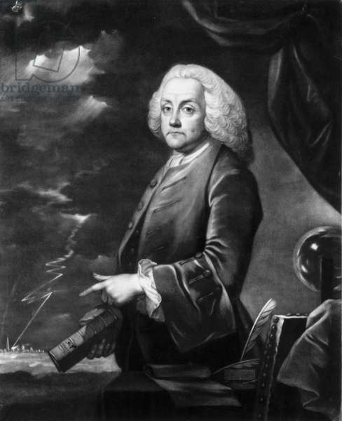 Benjamin Franklin, American theorist on static electricity, c 1740s