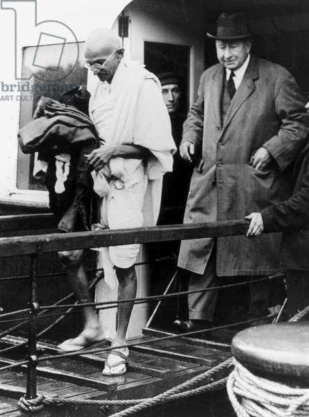 Mahatma Gandhi arriving at Folkestone, Kent, 1931