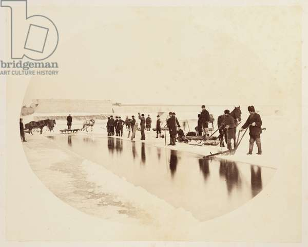 Ice cutting on the St Lawrence River', 1860