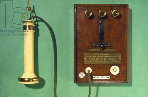 Telephony, Telephones Early Bell telephone and terminal panel, 1877