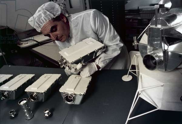 Manned Space Flight, USA, Apollo, General Technician assembling Apollo 9 television cameras, 1969