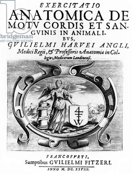 Title page from 'Anatomical Treatise on the Movement of the Heart and Blood in Animals', 1628